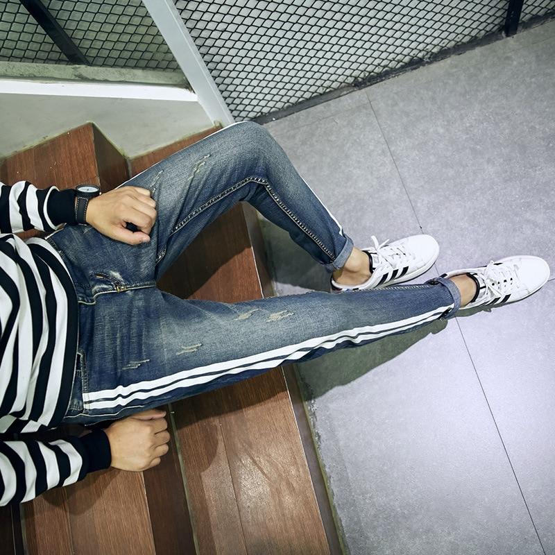 ФОТО Autumn Jeans Korean Slim-type men's feet long pants boys elastic black casual men's pants do229