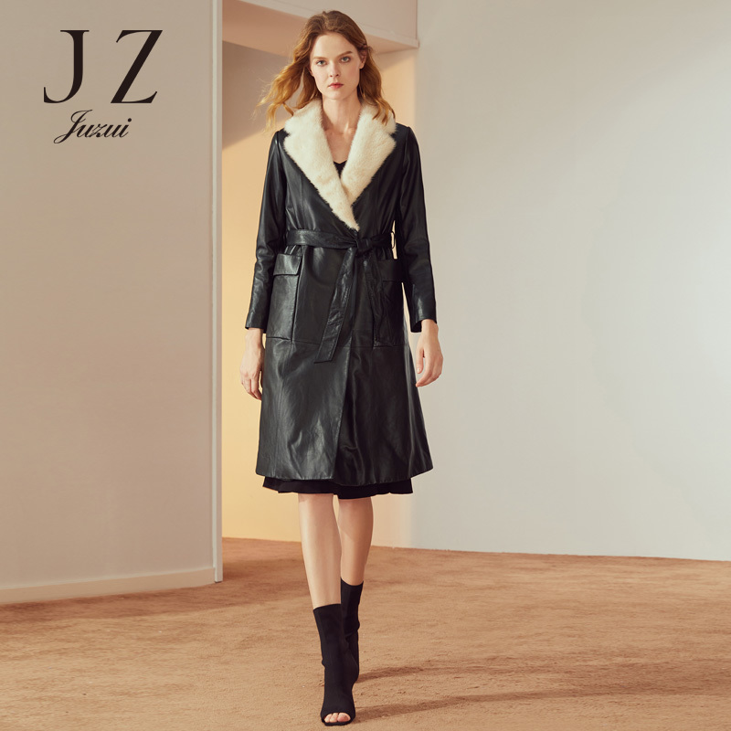 2018 winter new mink fur collar leather ladies long leather trench coat JUZUI