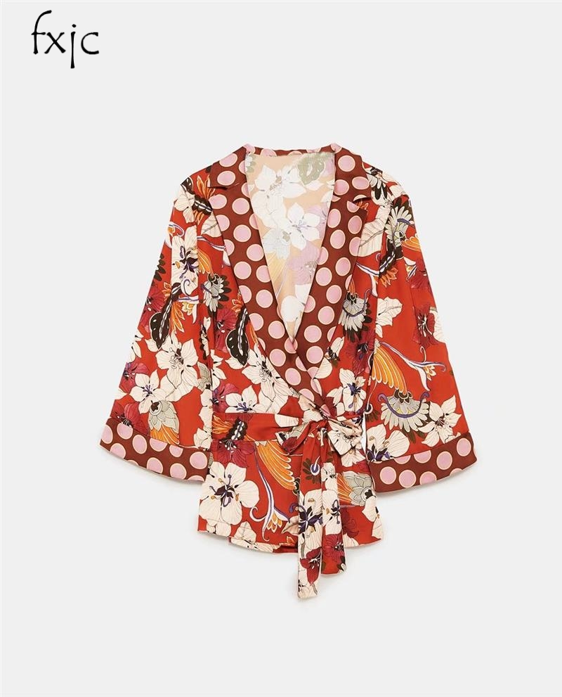 2018 spring fashion new women's long-sleeved color belt stitching printing double sash blouse