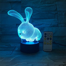 LED Night light 3D Cartoon Rabbit Bunny USB touch switch Remote Control Acrylic 7 Color Gradient Atmosphere Lamps Kids Gifts led