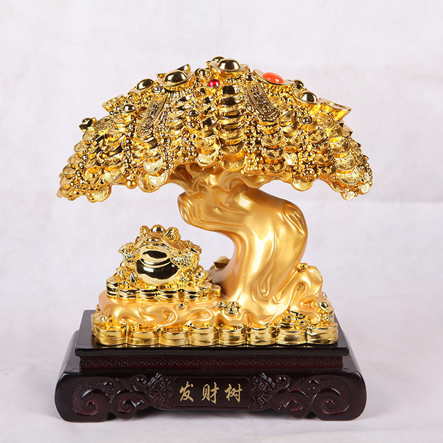 US $181 0 |Plating resin manufacturers, wholesale cash cow Lucky tree  Pachira Ping creative business gifts ornaments-in Figurines & Miniatures  from