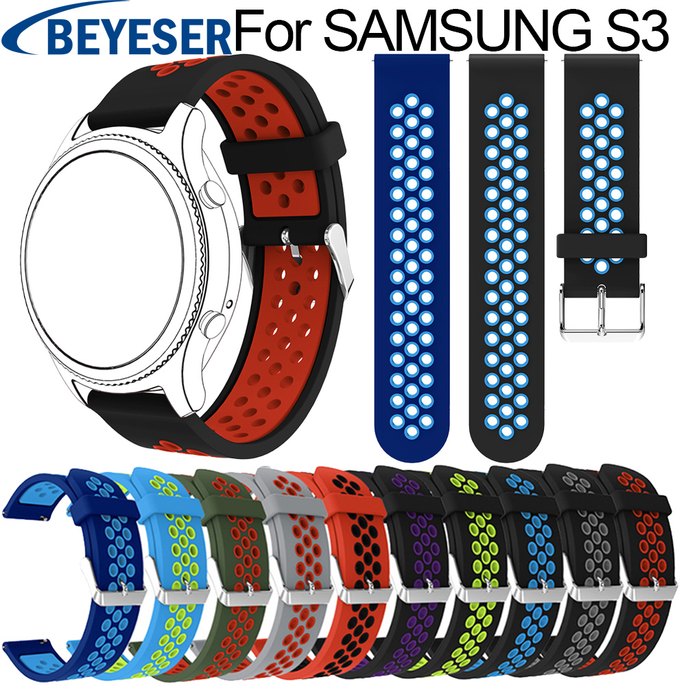 22MM Replacement Strap For Samsung Gear S3 Classic watch Band Sport Silicone Bracelet Strap For Samsung Gear S3 Frontier Band so buy silicone watchband for samsung gear s3 classic frontier 22mm silica gel watch band s 3 sport strap replacement bracelet