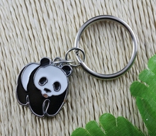 Hot Sale Vintage Silver Enamel Panda Charm Keychain Ring For Keys Car Key Ring Souvenir Gifts Couple Handbag Accessories DY Z166
