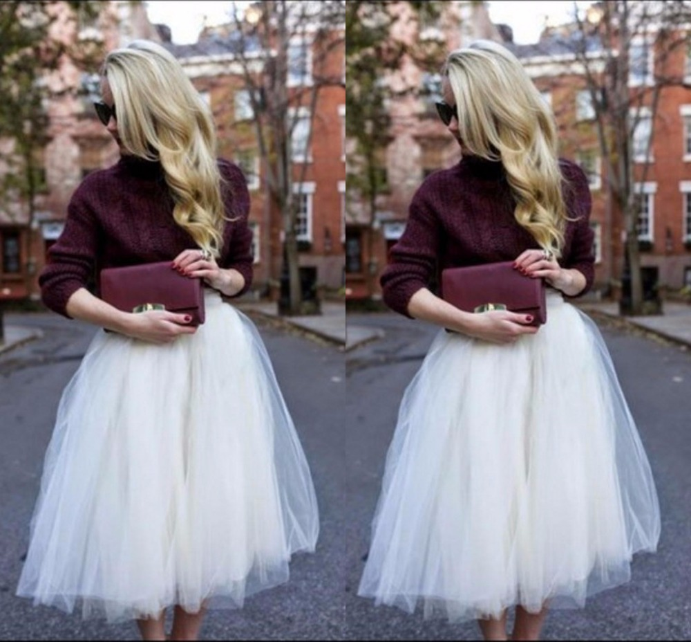 Debutante Style White Tulle Skirt Puffy Long Skirts Womens Ankle ...