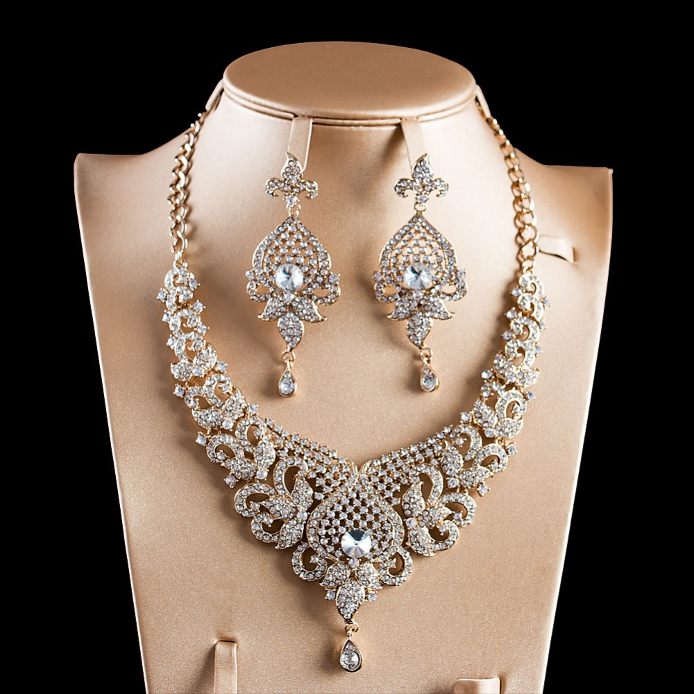LAN PALACE New arrivals jewelry set gold color glass necklace and earrings for wedding free shipping