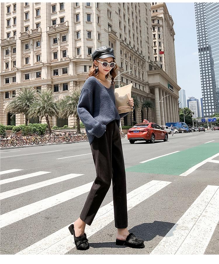 19 Autumn New Women Elastic Woolen Pant Female Plus Size Casual Trousers Black/Gray Harem Pants Winter Wool Ankle-Length Pants 31