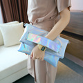 Foldable Silver Evening Clutch Bags Fashion Shoulder Bags High Quality Handbags Lady Envelope Cross Body Bag Holographic