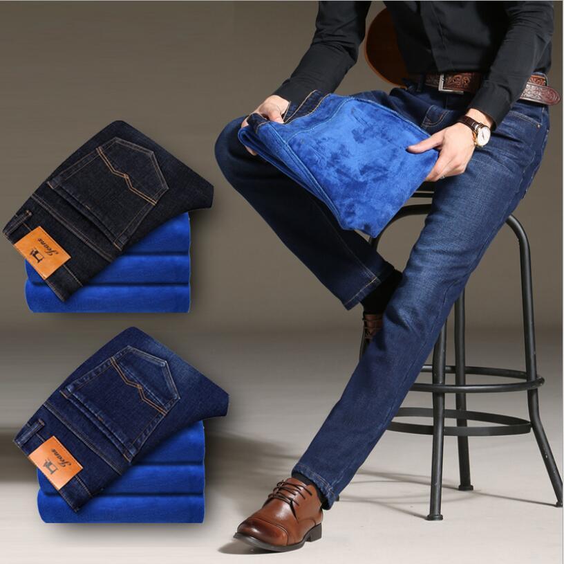 Brand Pants   Jeans   Lined Stretch Denim Warm   Jeans   For Men Designer Slim Fit Mens Winter Blue Fleece   Jeans   Black Blue