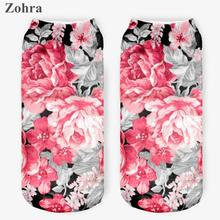 Zohra Vintage Flowers 3D Full Printed sock Women's Low Cut Ankle Socks lovely Sokker Cotton Hosiery elegant Socks