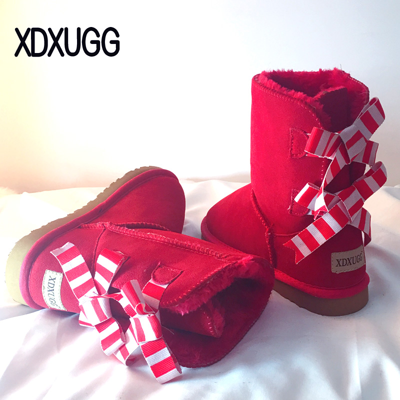XDXUGG Gingham Genuine leather Fur Snow boots women Top High quality Australia Boots Winter Boots for