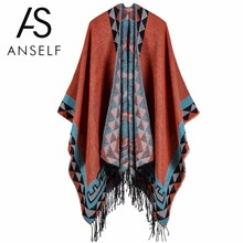Anself Boho Women Knitted Cardigan Poncho Winter Geometric Pattern Tassel Long Cardigan Oversized Sweater Warm Cape Pull Femme