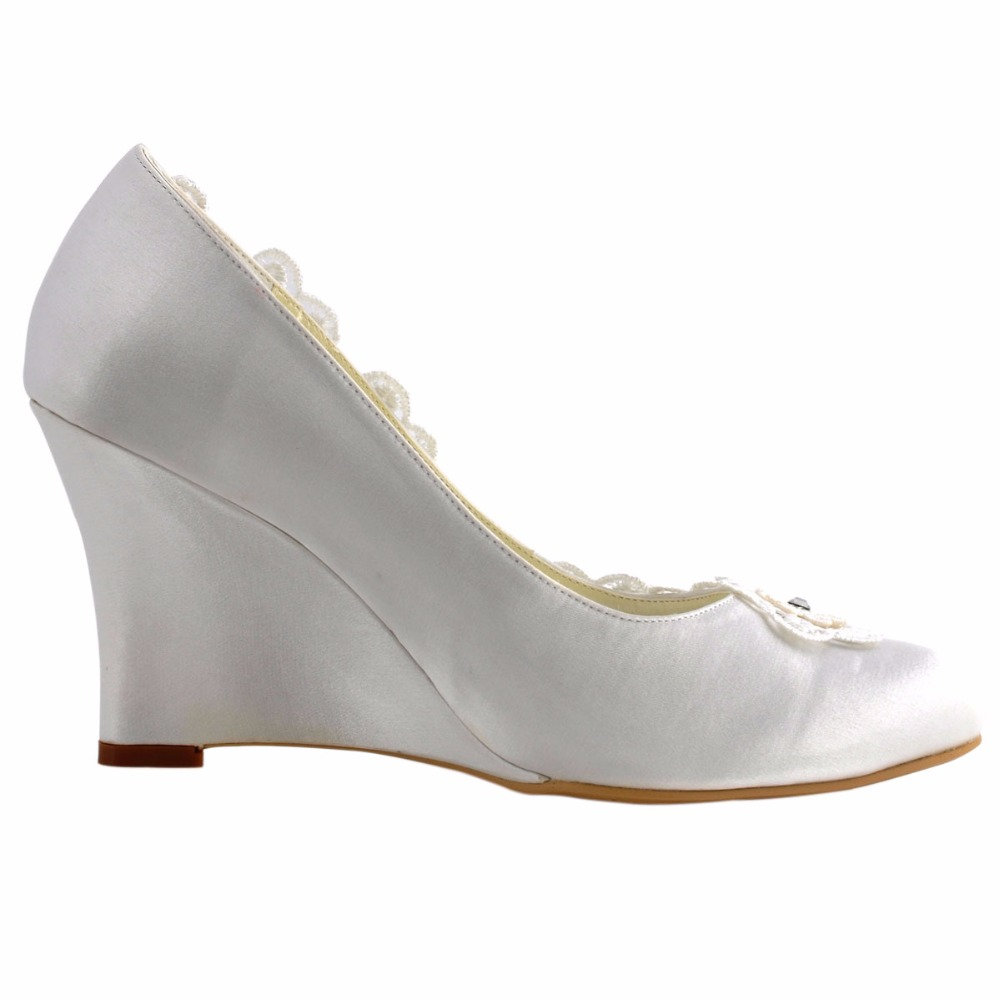 2016 Woman Wedges Shoes WP1416 Ivory Size 6  EU 37 Closed Toe High Heel  Wedding Bridal Shoes Pumps-in Women s Pumps from Shoes on Aliexpress.com  7dc9505185a8