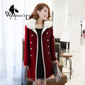 WomensDate 2017 Fashion Korean Double-breasted Thick Wool Coat Fur Collar And Long Sections Slim Women Red Wool Coat Trench Coat