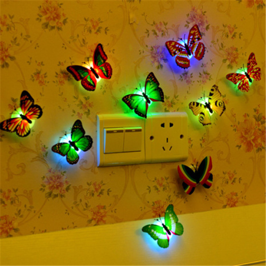 5pcs Colorful Changing Butterfly LED Night Light Lamp Home Glow In ...
