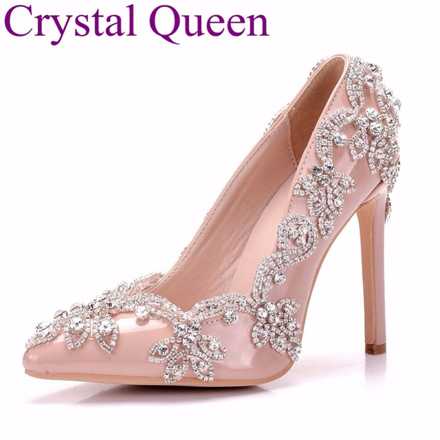 73a2aa091ad2f3 Crystal Queen Sexy Nude Pumps Thin High Heel Pointed Toe Rhinestone Pumps  Wedding Heels Shoes Bridal High Heels Women Party Shoe