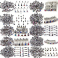 Wholesale Lots 100Pcs Mixed 10 Styles Body Piercing Jewelry Tragus Bar Lip Rings Punk Unisex Stainless Steel Body Jewelry