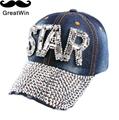 wholesale women girl outdoor casaul sports cap novelty STAR letter bling rhinestone beads denim snapback cap hat baseball caps
