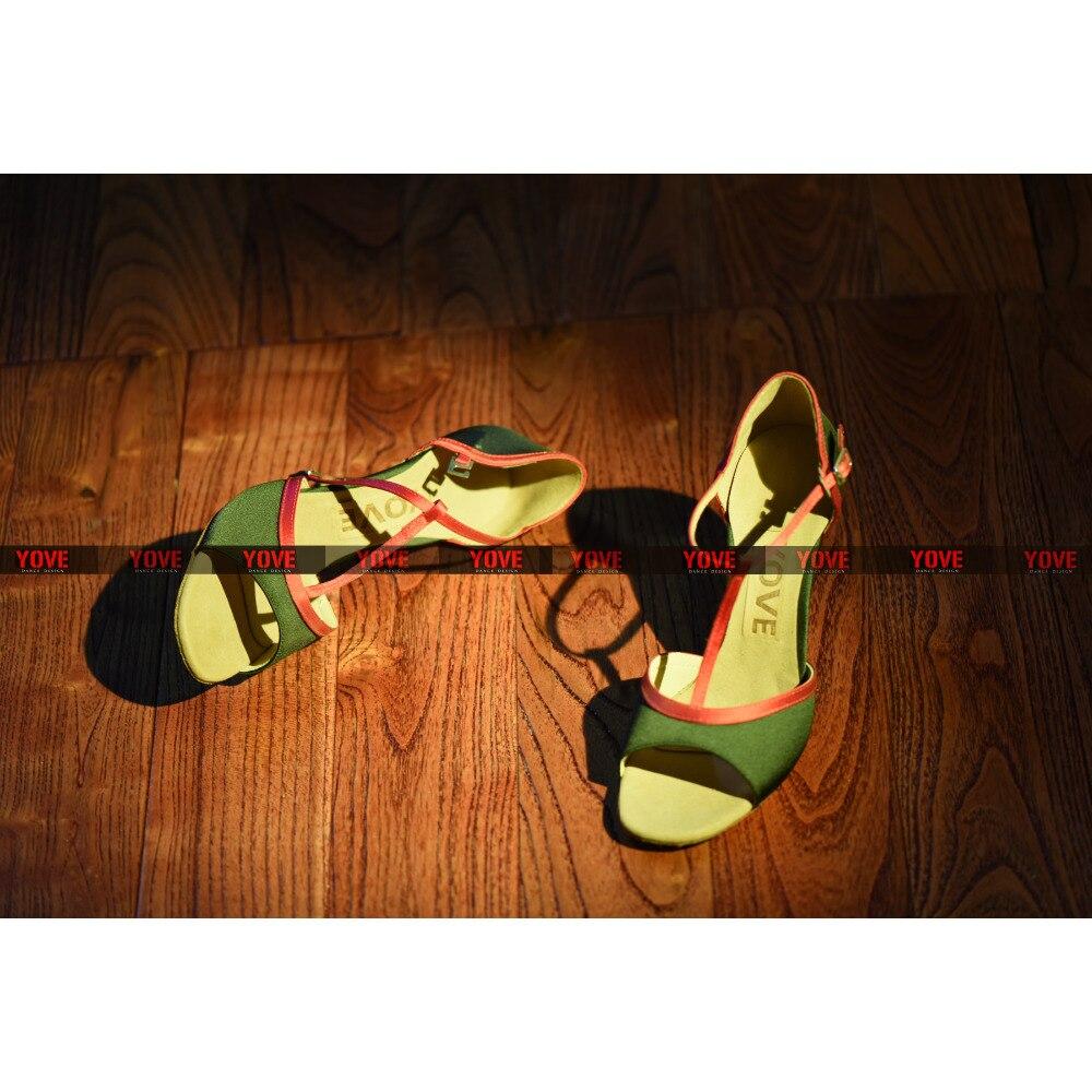 561321a4 ₪Yove w1610-1 danza Satén de Latino/Salsa Zapatos 3.5 talón delgado ...