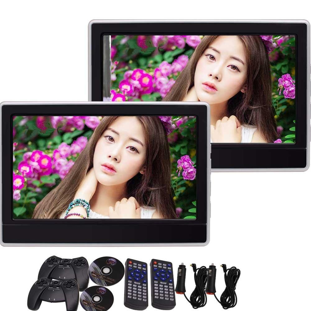 Car DVD Player Headrests Video Wide LCD Screen Monitor with Multi-OS Language Remote Control Game Discs Support FM IR Headphone