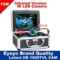 Eyoyo Original 15M Professional Fish Finder Underwater Fishing Video Camera 7 Color Monitor 1000TVL HD CAM 12pc Infrared lights