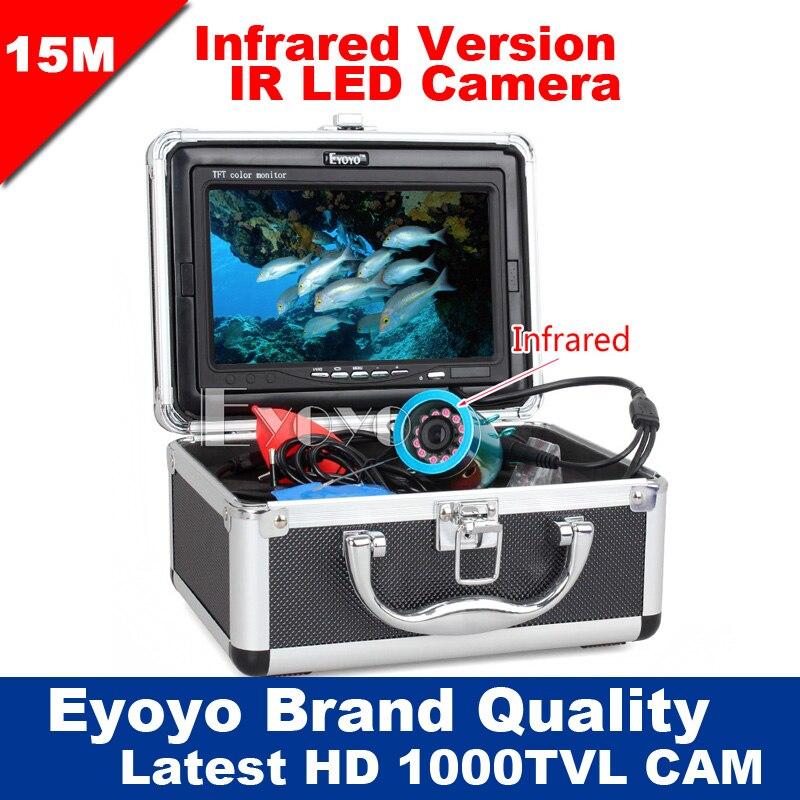 Eyoyo D'origine 15 M Professional Fish Finder Sous-Marine Pêche Caméra Vidéo 7 Moniteur Couleur 1000TVL HD CAM 12 pc lumières infrarouges