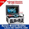 """Eyoyo Original 15 M Inventor Dos Peixes de Pesca Submarina Câmera de Vídeo Profissional 7 """"Color Monitor 1000TVL HD CAM 12 pc luzes infravermelhas"""