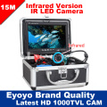 "Eyoyo Original 15M Professional Fish Finder Underwater Fishing Video Camera 7"" Color Monitor 1000TVL HD CAM 12pc Infrared lights"