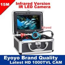 """Eyoyo Original 15 M Pesca Submarina Cámara de Vídeo Profesional Buscador de los Pescados 7 """"Monitor de Color 1000TVL HD CAM 12 unid luces infrarrojas"""