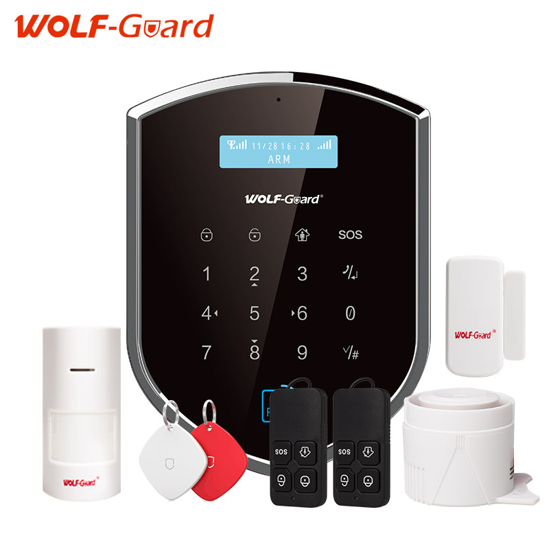 WOLF-Guard Wifi Wireless 433mhz Android IOS APP Remote Control RFID Security wifi Burglar alarm System With SOS Button new dc5v wifi ibox2 mi light wireless controller compatible with ios andriod system wireless app control for cw ww rgb bulb