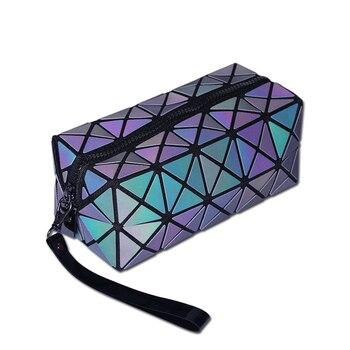 2018 Geometric Zipper Cosmetic Bag Luminous Makeup Bag for Women Ladies Cosmetics Set Organizer Folding Travel Make Up Handbag handbag