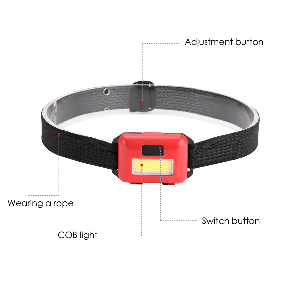 Image 2 - COB LED Headlamp Mini Headlight Rainproof Flashlight Head Light Lamp Torch Outdoor Camping Lantern Power by 3*AAA Battery-in Headlamps from Lights & Lighting