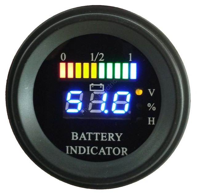 Round LED Digital Battery gauge discharge Indicator hour