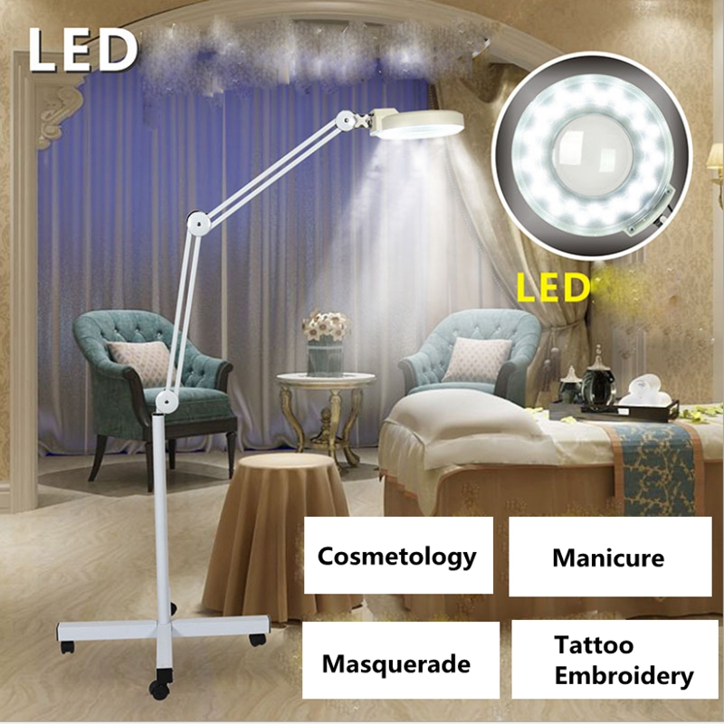 220V LED Lamp Adjustable Cold Light Operation Magnifying Glass Floor Shadowless Lamp Magnifier for Beauty Salon Nail Tattoo