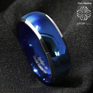 Image 3 - 8mm męski pierścień wolframu niebieski kopułą ze ściętymi srebrnymi krawędziami obrączki darmowa wysyłka