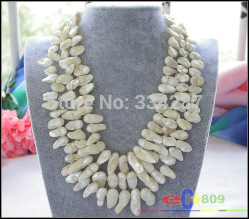 100% Selling Picture full 3row white baroque Tail freshwater pearl necklace