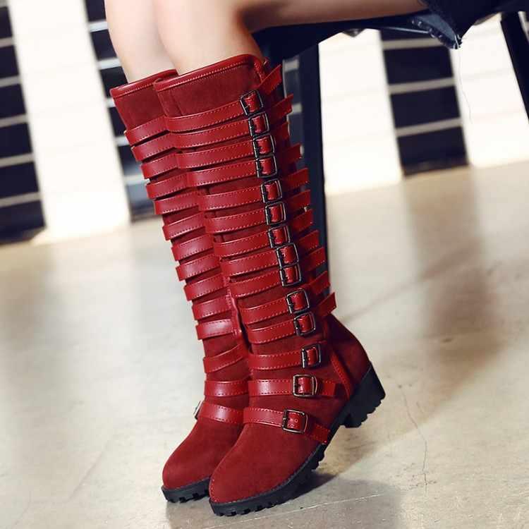 Büyük Boy 11 12 13 14 15 Kadın Uzun Çizmeler Kadın Diz Boot Over Saf renk Toka dekorasyon Süet yüksek topuklu çizmeler