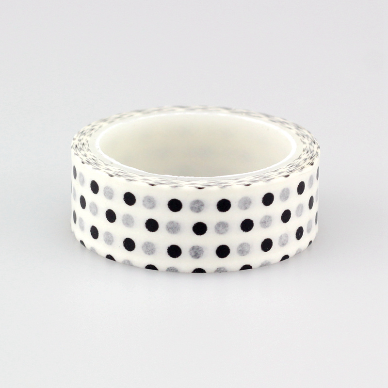 Good Quality 1.5cm *5m 1pc Cute Black and White dots Decorative Washi Tape DIY Scrapbooking Masking Tape School Office Supply