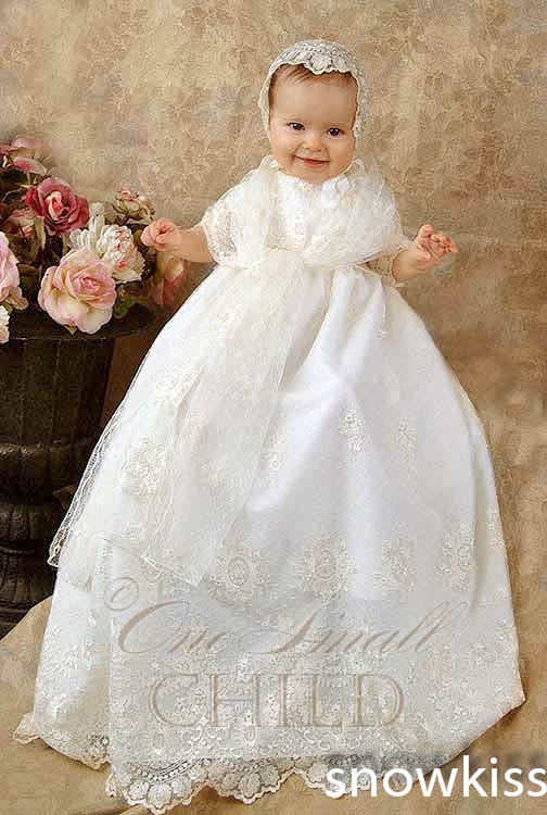 2016 Newborn Lace Baby Girl White/Ivory Baptism Robe First Communion Dresses Christening Gown Baptism Dress сапоги детские ortotex ortotex сноубутсы футбол синие