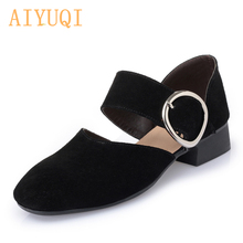 AIYUQI 2019 genuine leather woman sandals, Close toe shallow mouth women shoes, Fashion Summer heels  high quality lady female