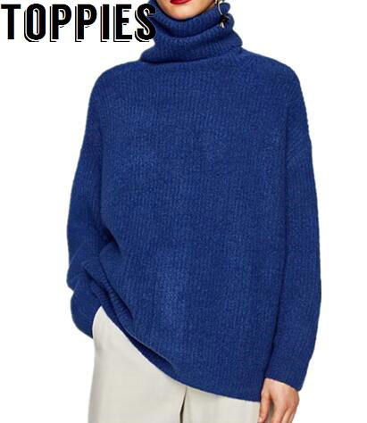 2017 Women Autumn Winter Turtleneck Royal Blue Knitted Sweaters ...