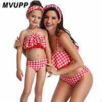 Mommy and me maiô rendas mãe filha swimwear alta espera xadrez família roupas combinando mãe olhar do bebê roupas vestidos de biquíni