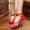 STARWISH Женская Мода Цветочная Вышивка Холст Квартиры в Китайском Стиле Национального Удобная Мягкая Подошва Мать Ткань Танцевальная Обувь