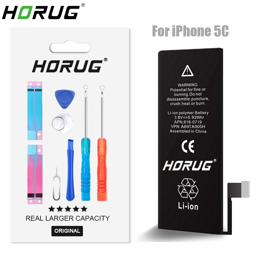 2018 NEW HORUG 100 Original Mobile Phone Battery For IPhone 5C Battery Original Capacity Sticker Replacement