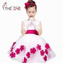 Enfants Fille Robe D'été Bowknot Filles De Mariage Robe Fleur Princesse Robes de Soirée Enfants Bébé Fille Robe Robe T129