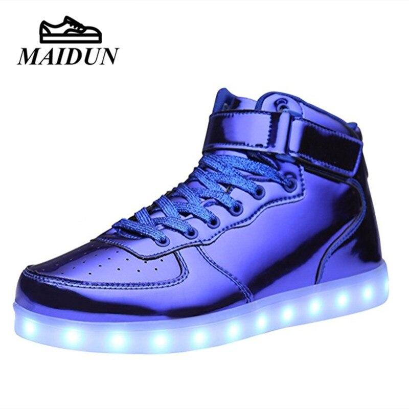 Nueva LED de Los Hombres Encienden Los Zapatos Con Cordones de Ocio Ocasionales