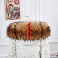 Winter Big faux fur collars women winter fake hood collar big raccoon scaves Colorblock