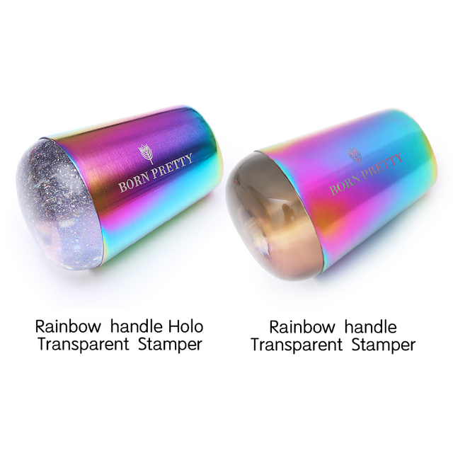 BORN PRETTY handle Holographic Transparent Nail Stamper for Stamping Plate Holo Clear Stamper Head Nail Art Templates 1