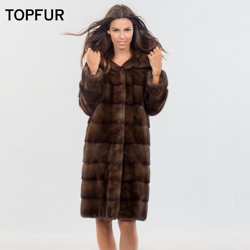 TOPFUR 2018 Nouveaux Prochainement Réel De Fourrure De Vison Manteaux Avec Grand Capot Mince Brun Type Long Vison Manteau De Fourrure De Luxe De Mode fourrure Outwear Vente Chaude