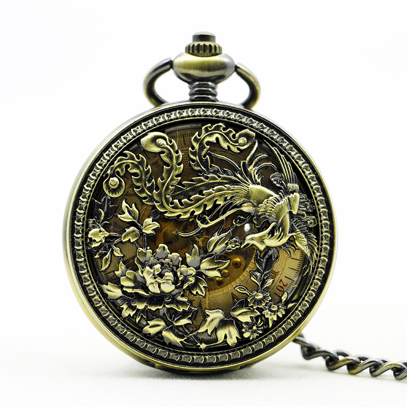 Antique&Vintage Bronze Hollow Bird Pocket Watch Vintage Roman Number Mechanical Pocket Watch Men Women Watch PJX1122