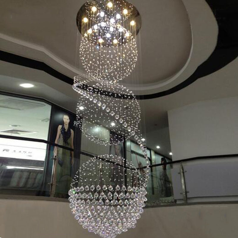 Image 4 - Modern Long LED Spiral Living Crystal Chandeliers Lighting Indoor Fixture for Staircase Stair Lamp Showcase Bedroom Hotel Hall-in Chandeliers from Lights & Lighting